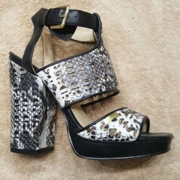 c91e3e4c1d6 Calvin Klein Chunky Snakeskin Heels